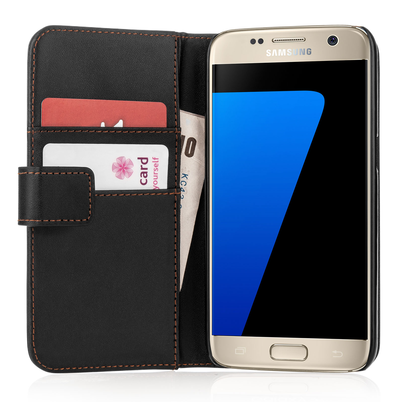 Yousave Accessories Samsung Galaxy S7 Leather-Effect Wallet Case - Black