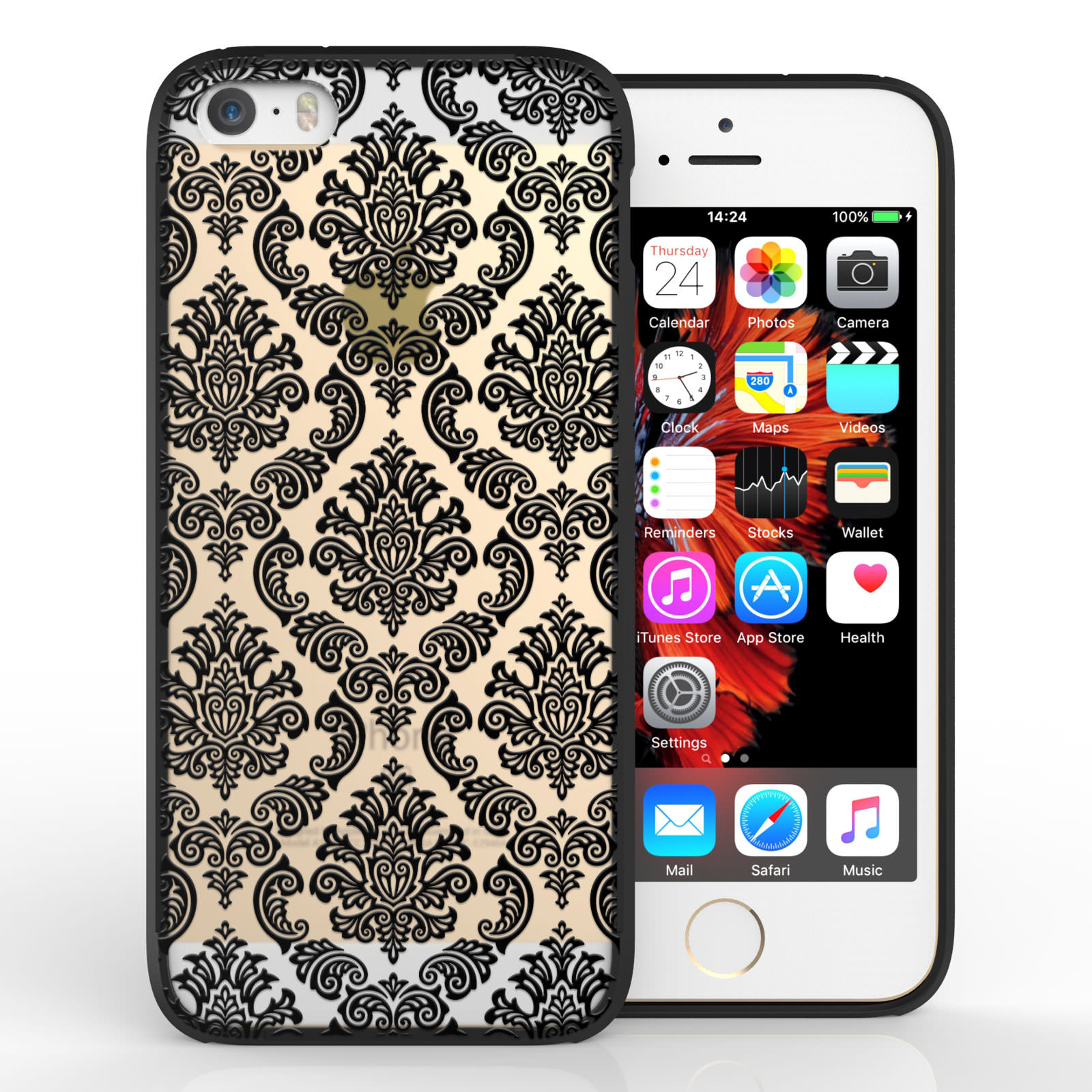 Yousave Accessories iPhone 5 and SE TPU Patterned Hard Case - Damask Black