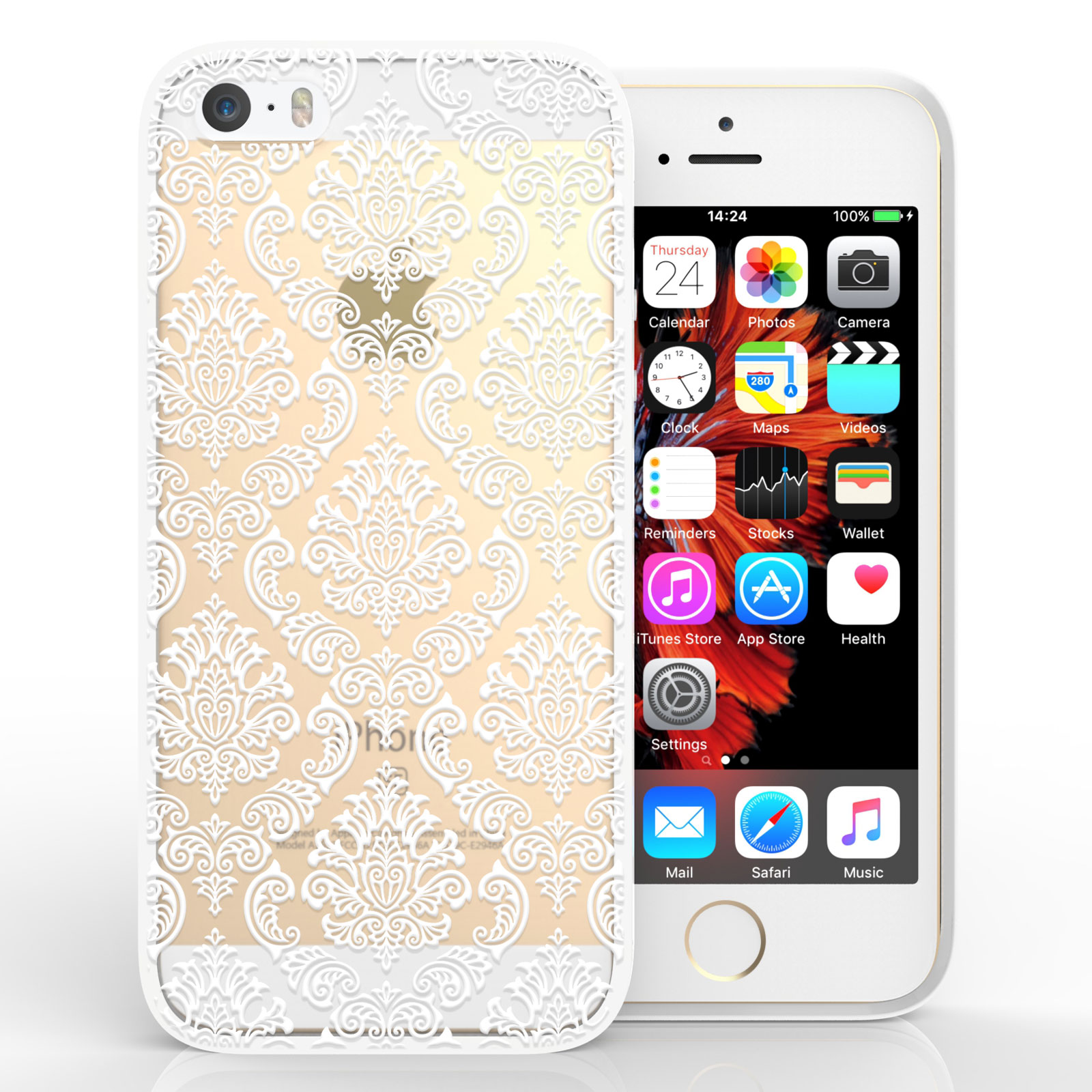 Yousave Accessories iPhone 5 and SE TPU Patterned Hard Case - Damask White