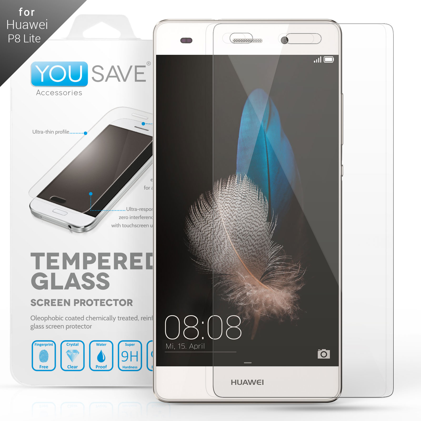 YouSave Accessories Huawei P8 Lite Glass Screen Protector