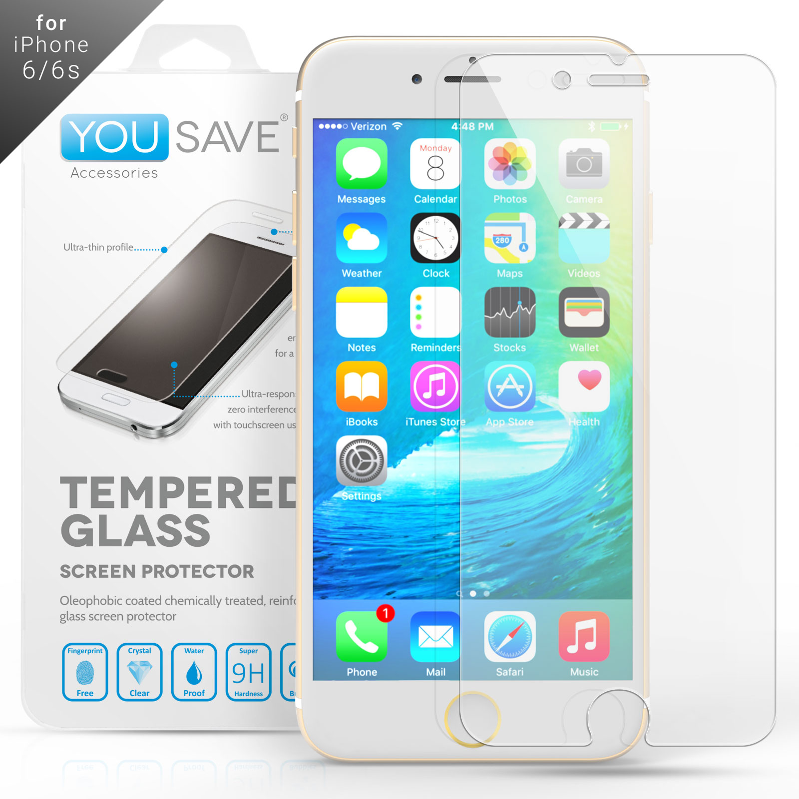 YouSave iPhone 6 and 6s Crystal Clear Tempered Glass Screen Protector