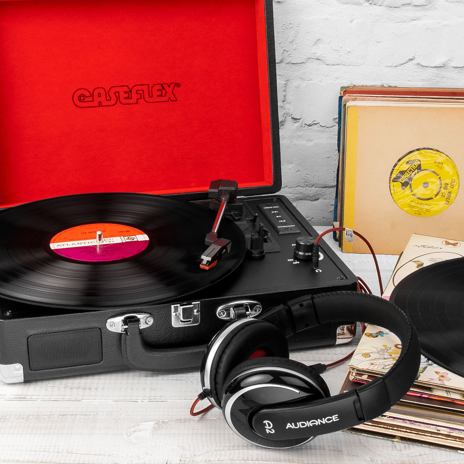 Caseflex Turntable Record Player Briefcase [3 Speed] Vinyl Recorder & MP3 Player with Built-In Bluetooth Stereo Speakers - Black & Red