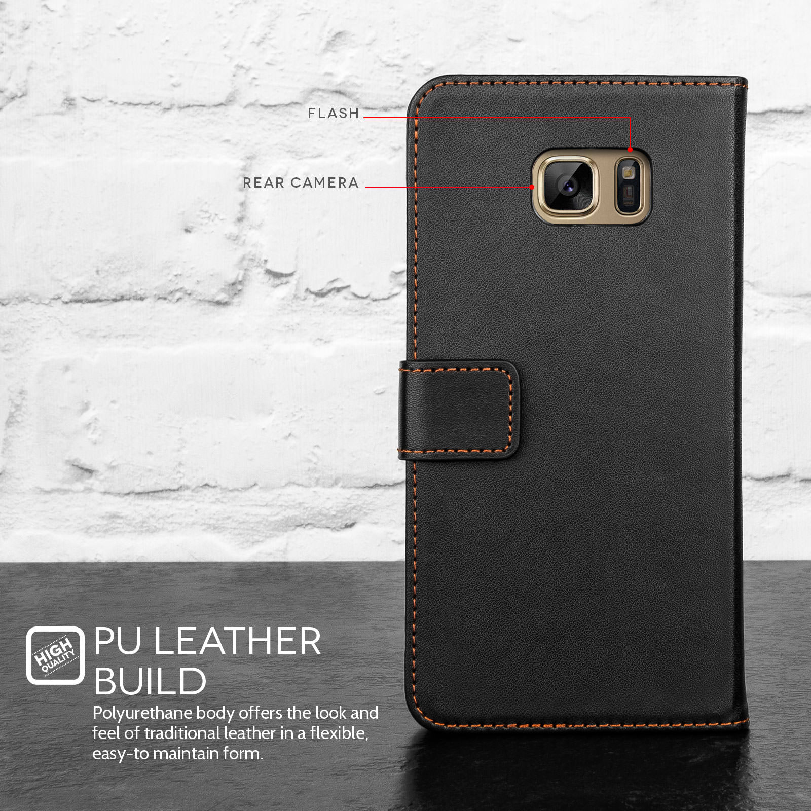 Yousave Accessories Samsung Galaxy Note 7 Leather-Effect Wallet Case - Black