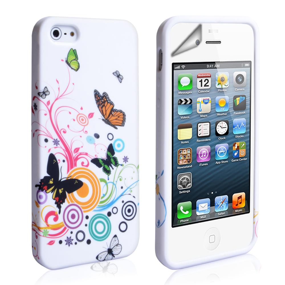 YouSave Accessories iPhone 5 / 5S Floral Swirl Butterfly Gel Case