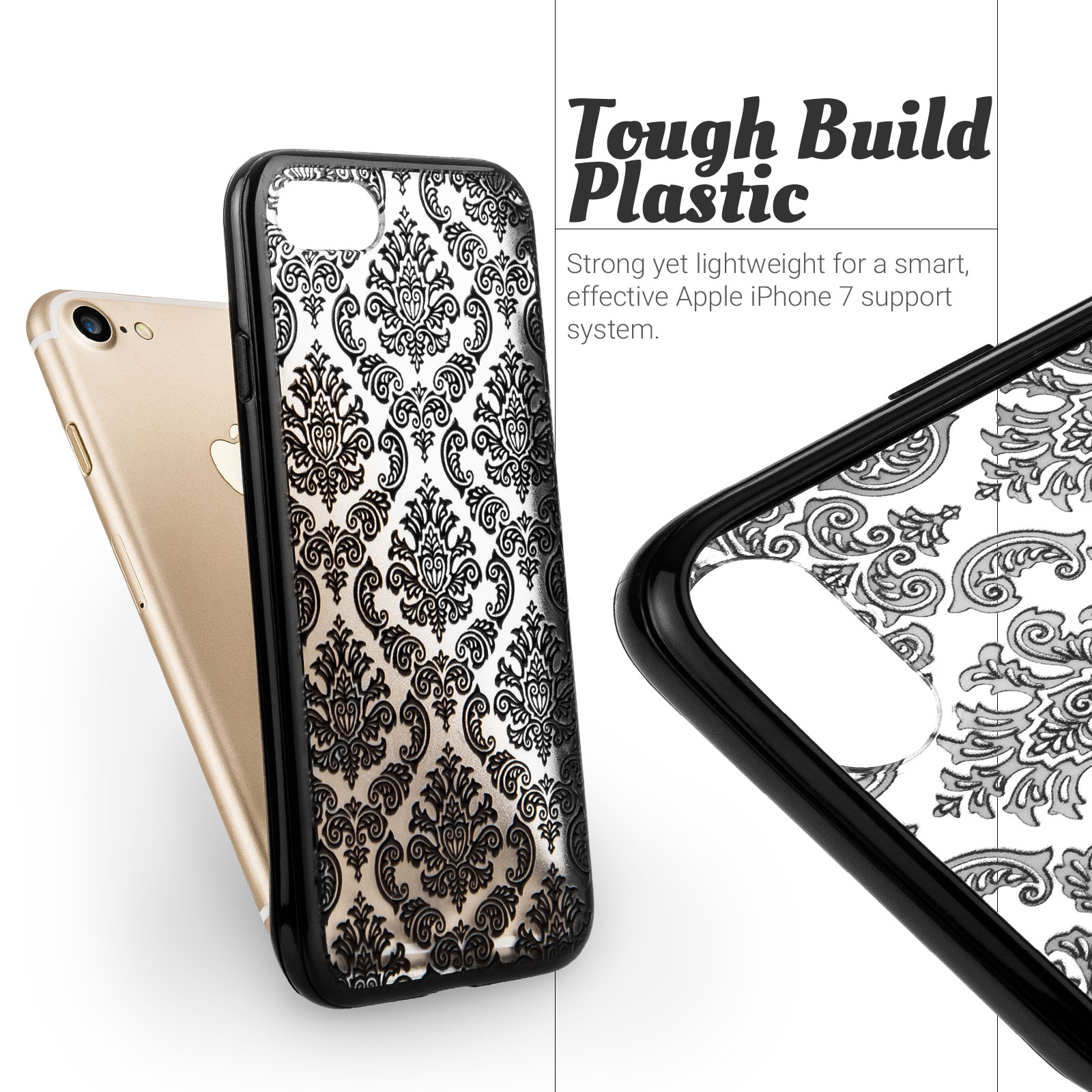 YouSave Accessories iPhone 7 Hard Case - Damask Black