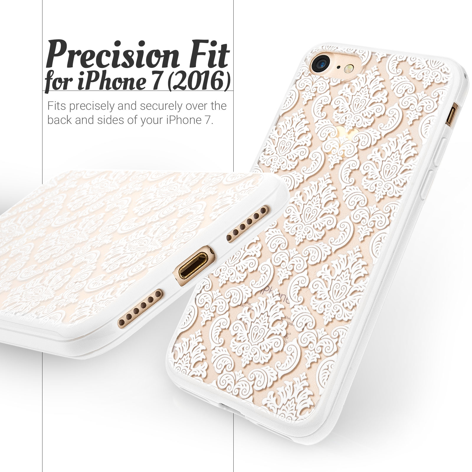 YouSave Accessories iPhone 7 Hard Case - Damask White