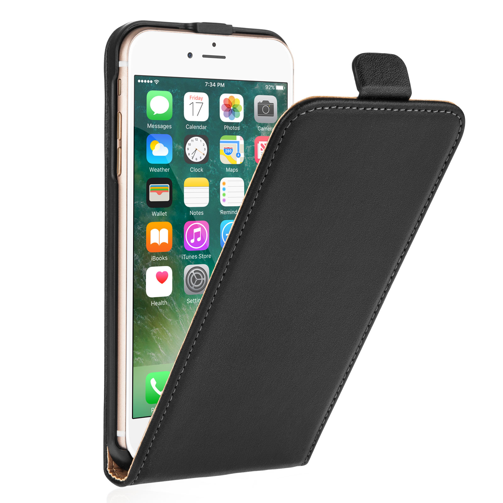 Caseflex  iPhone 7 Plus Real Leather Flip Case - Black