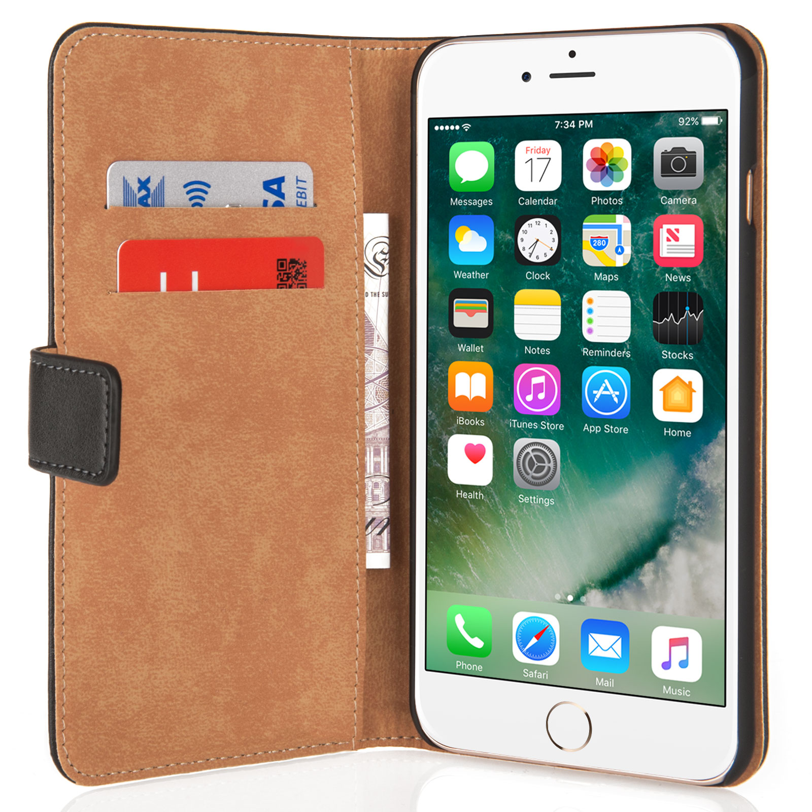 Caseflex iPhone 7 Plus Real Leather Wallet Case - Black