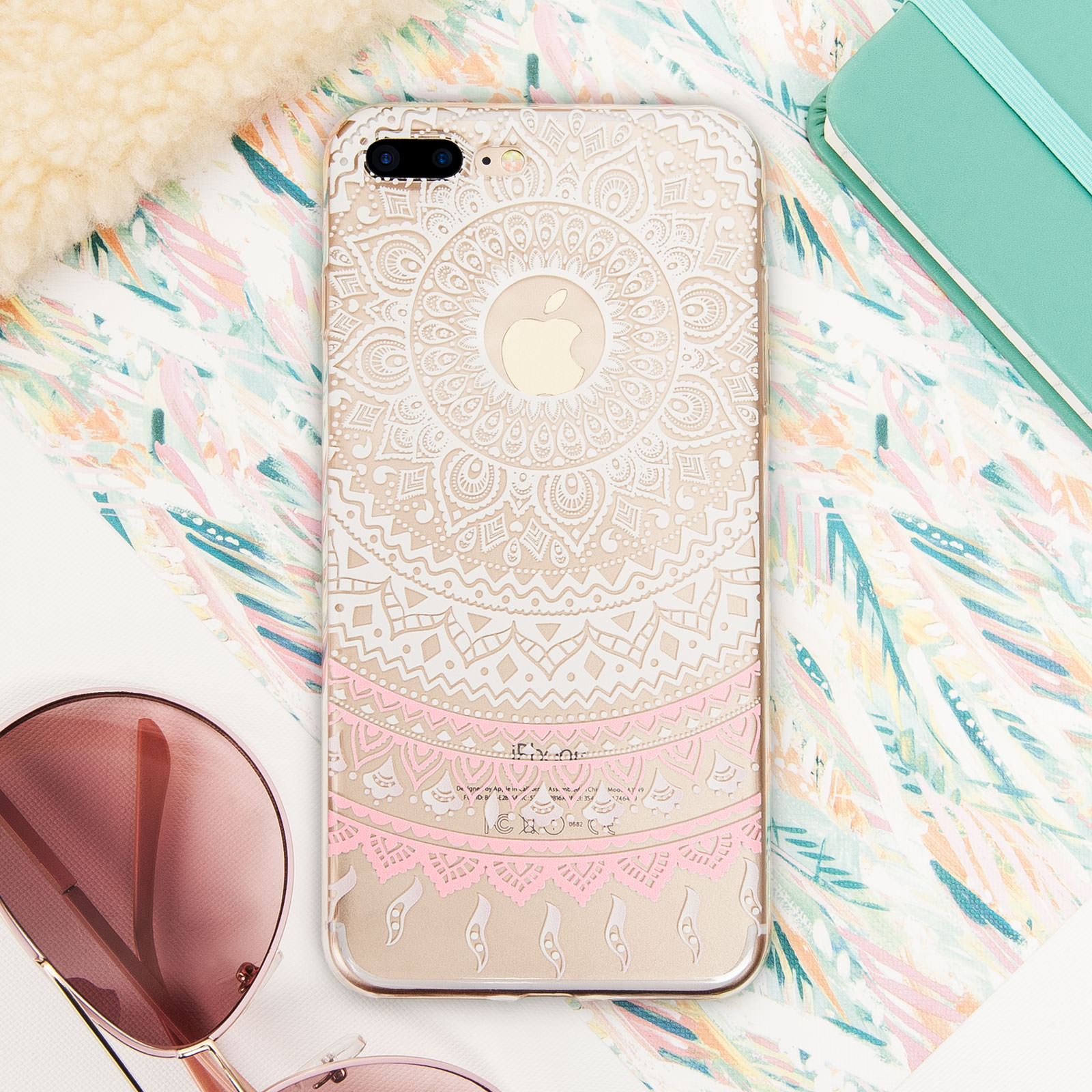 YouSave Accessories  iPhone 7 Plus Mandala Printed Pattern Gel  - White