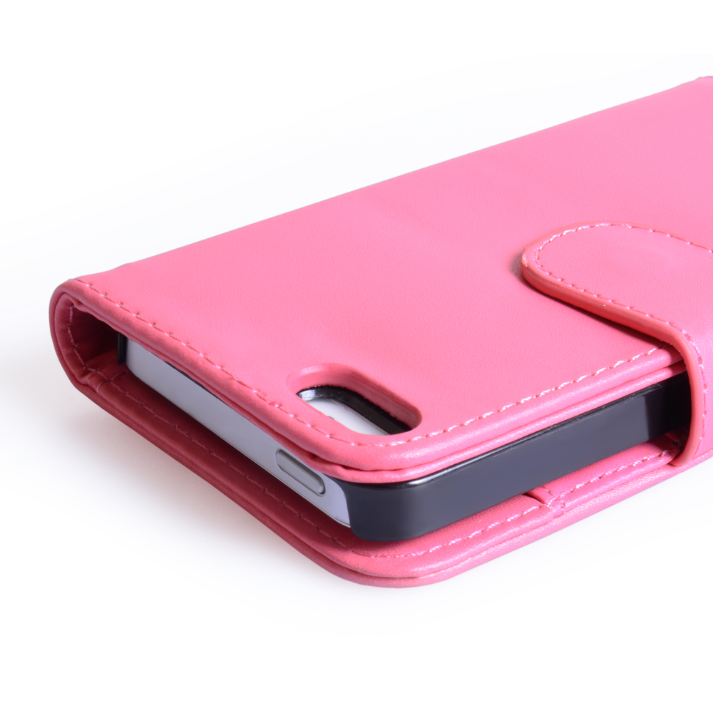 YouSave Accessories iPhone 5 / 5S Hot Pink Leather Effect Wallet Case