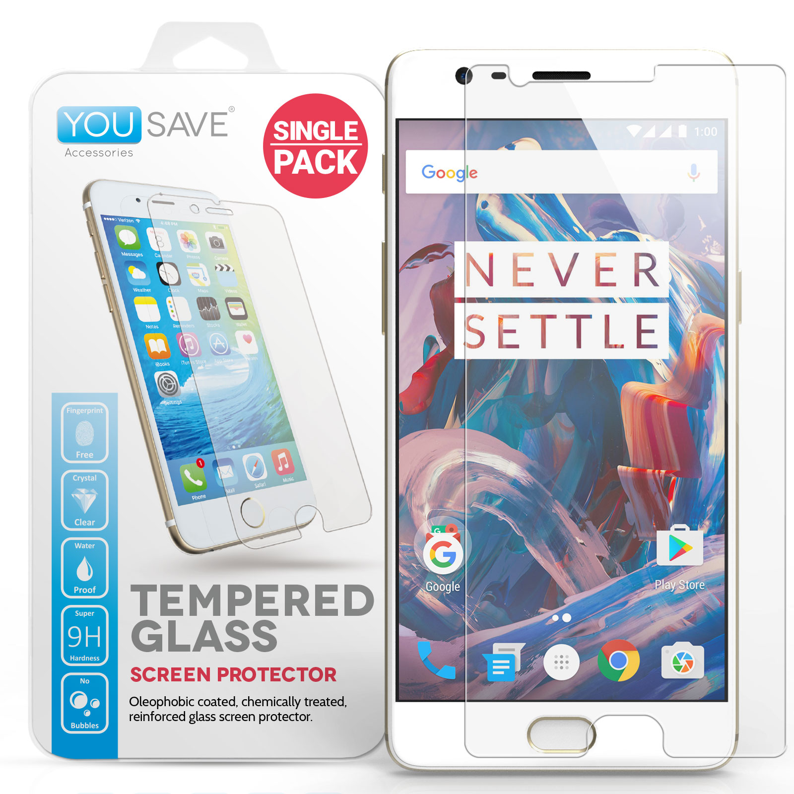 Yousave Accessories OnePlus Three Glass Screen Protector