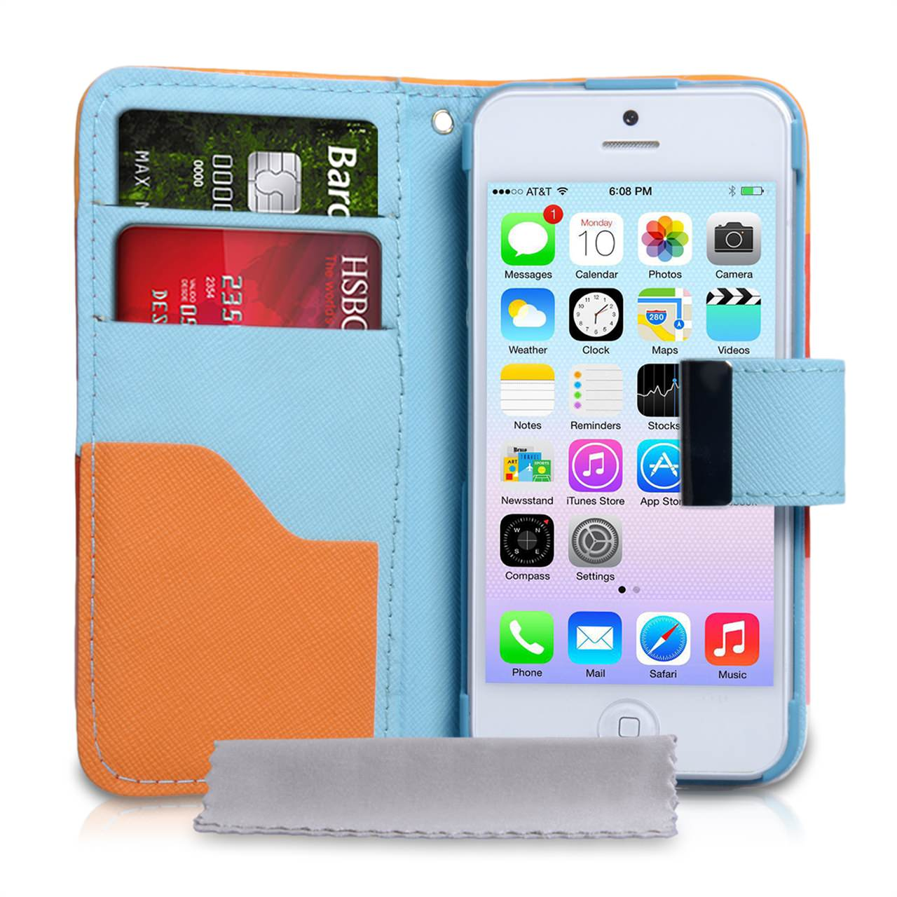 YouSave iPhone 5 / 5S Blue Inner Leather Effect Wallet Stand Case