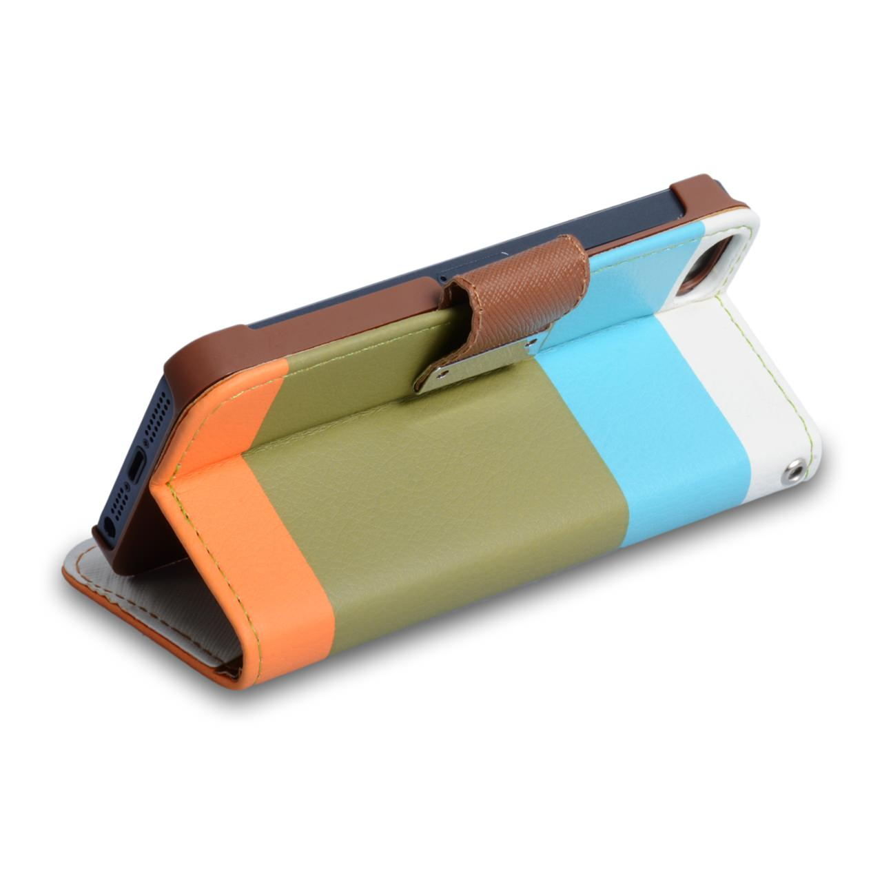 YouSave iPhone 5 / 5S Brown Inner Leather Effect Wallet Stand Case