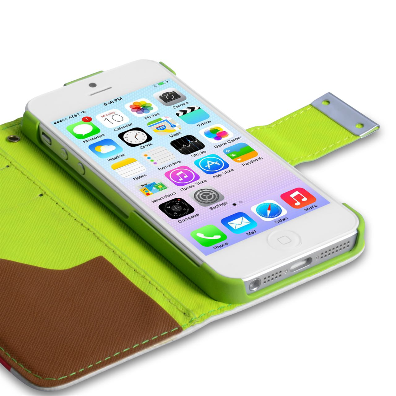 YouSave iPhone 5 / 5S Green Inner Leather Effect Wallet Stand Case