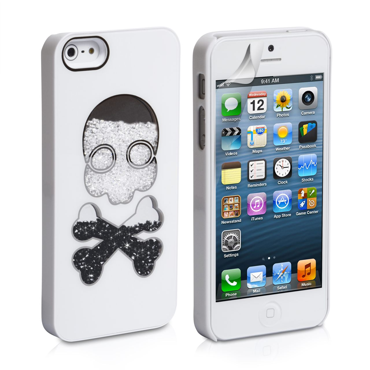 YouSave Accessories iPhone 5 / 5S Bling Skull  Hard Case - White