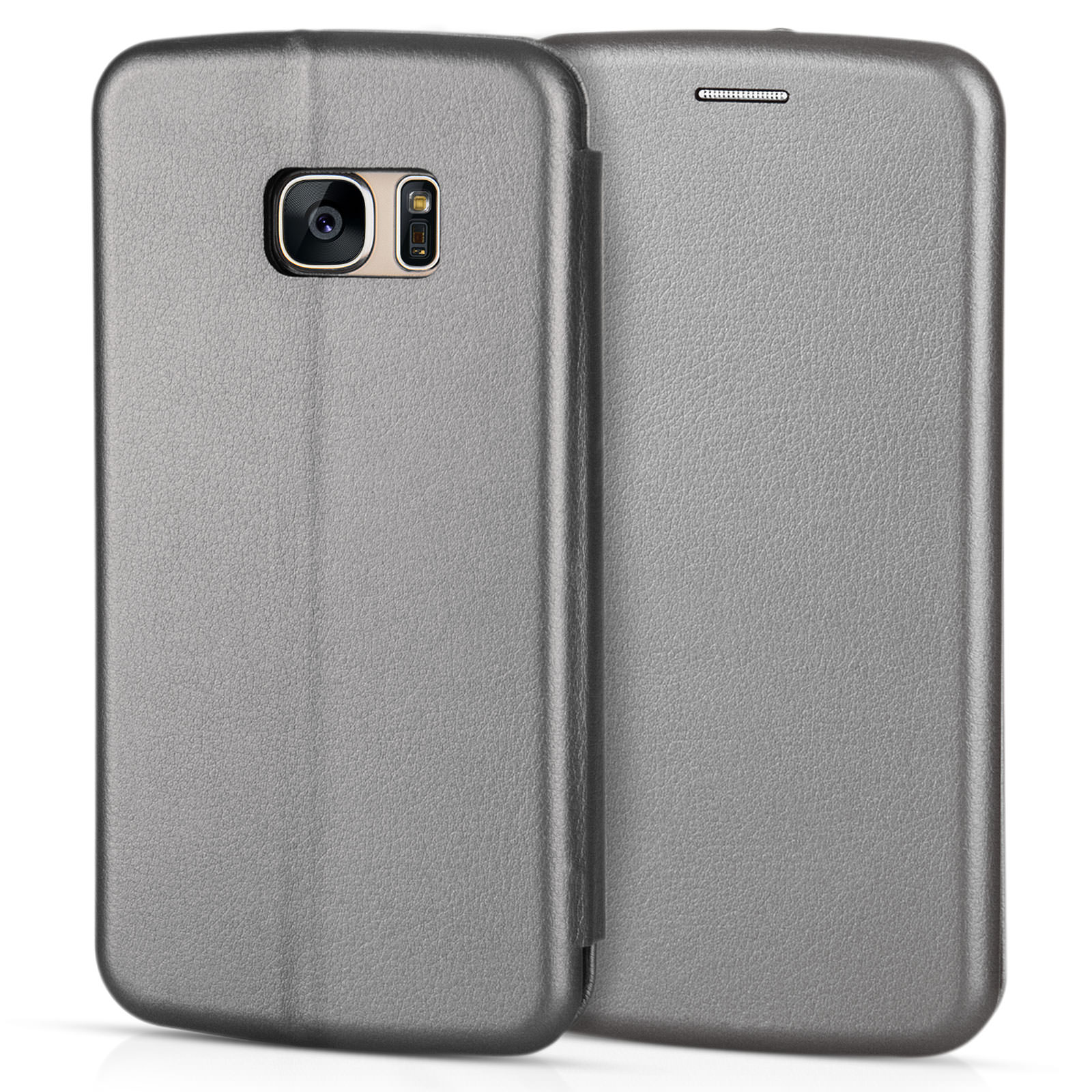 Yousave Accessories Samsung Galaxy S7  Leather-Effect Stand Wallet Case - Grey