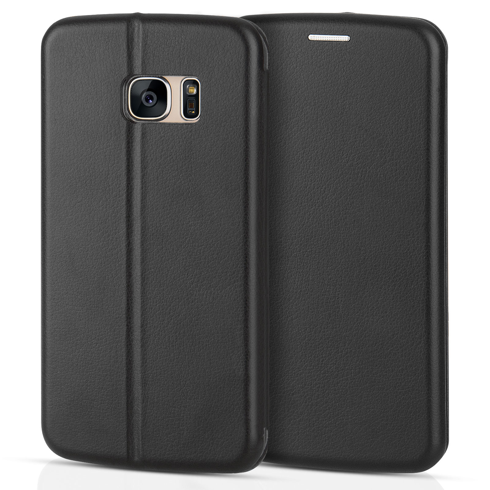 Yousave Accessories Samsung Galaxy S7  Leather-Effect Stand Wallet Case - Black