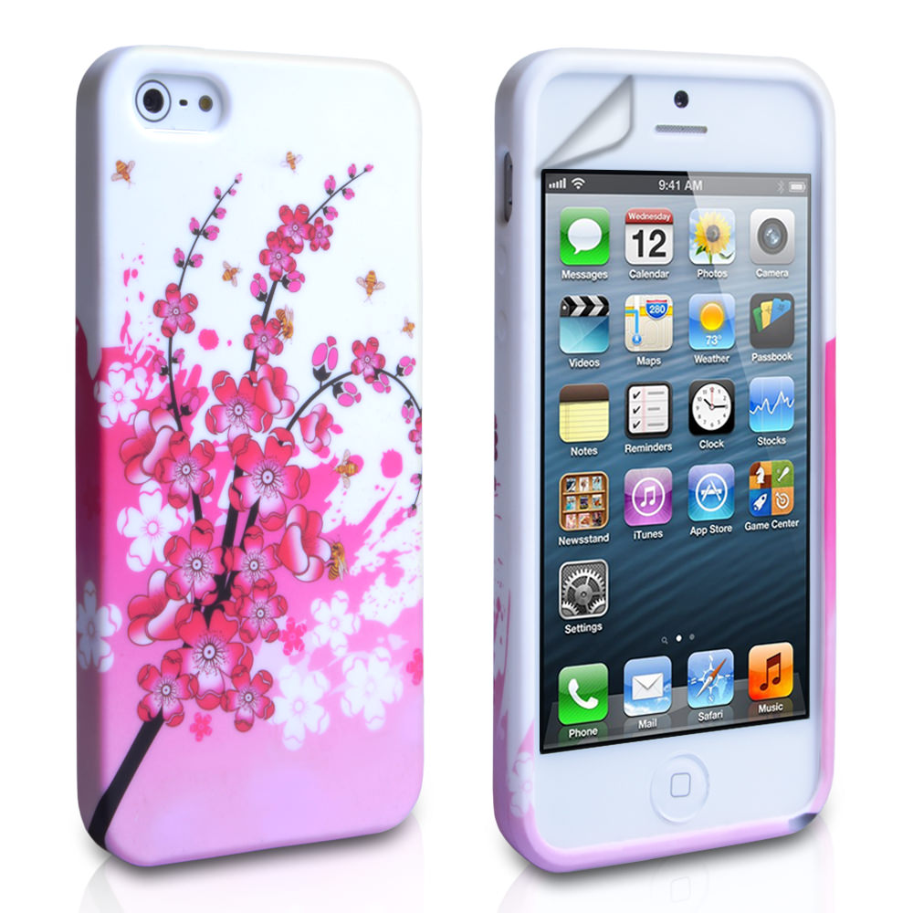 YouSave Accessories iPhone 5 / 5S White-Pink Floral Bee Gel Case