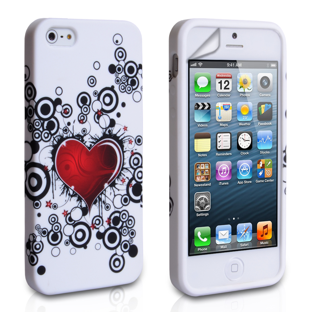 YouSave Accessories iPhone 5 / 5S White-Red Heart Gel Case