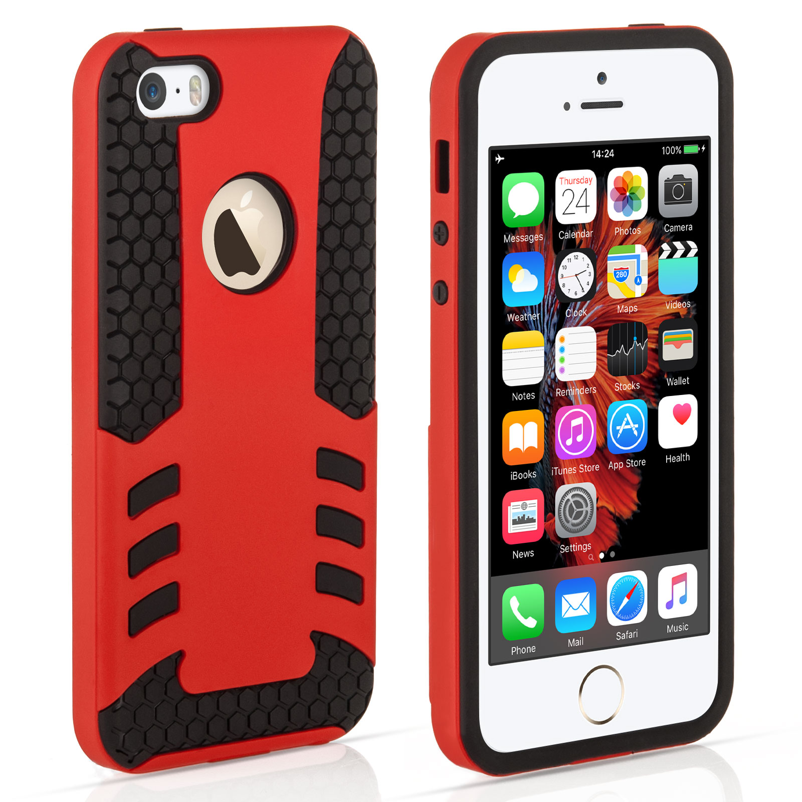 YouSave iPhone 5 / 5S / SE Border Combo Case - Red