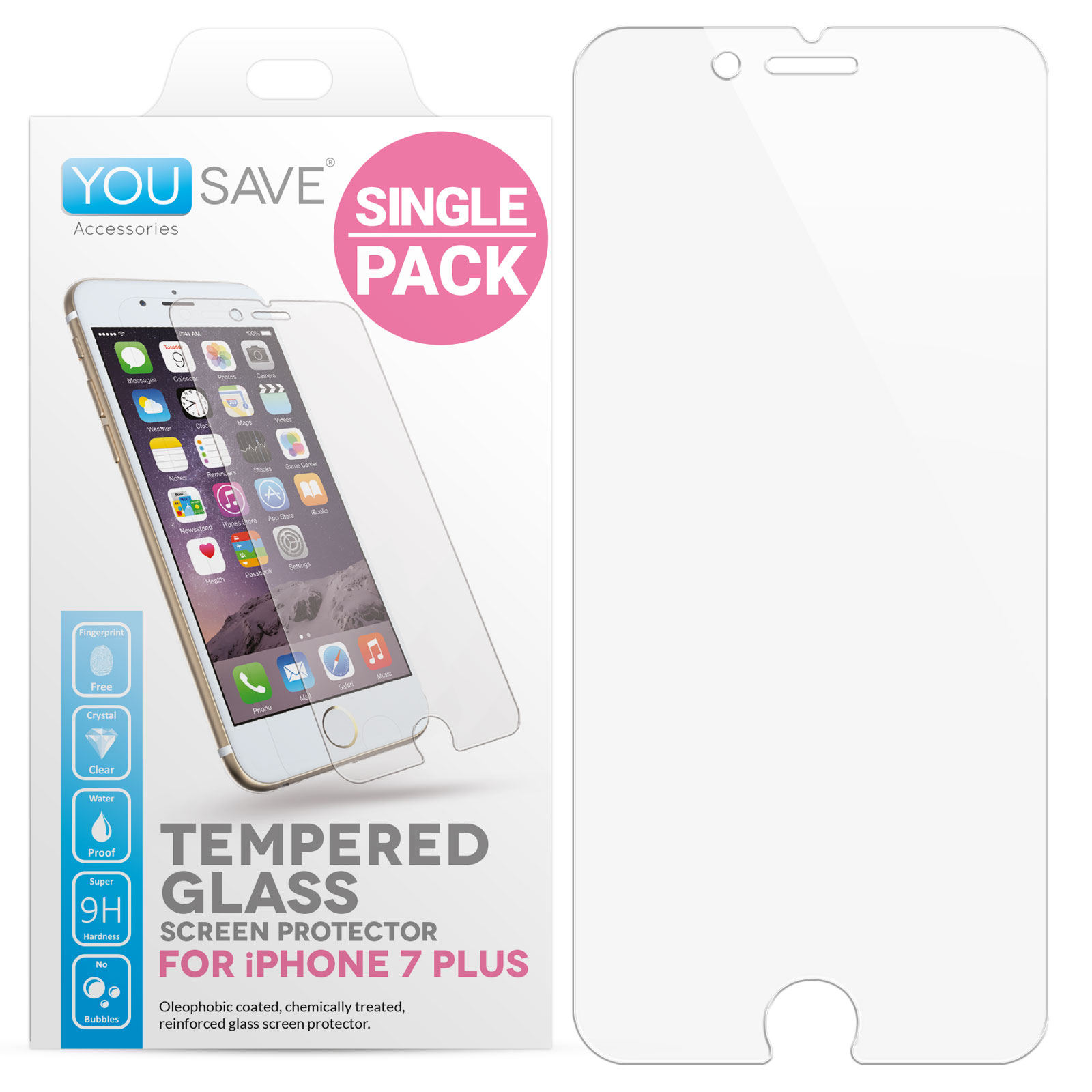 Yousave Accessories  iPhone 7 Plus Glass Screen Protector