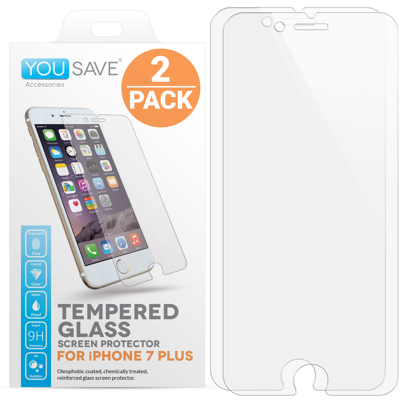 Yousave Accessories  iPhone 7 Plus Glass Screen Protector - Twin Pack
