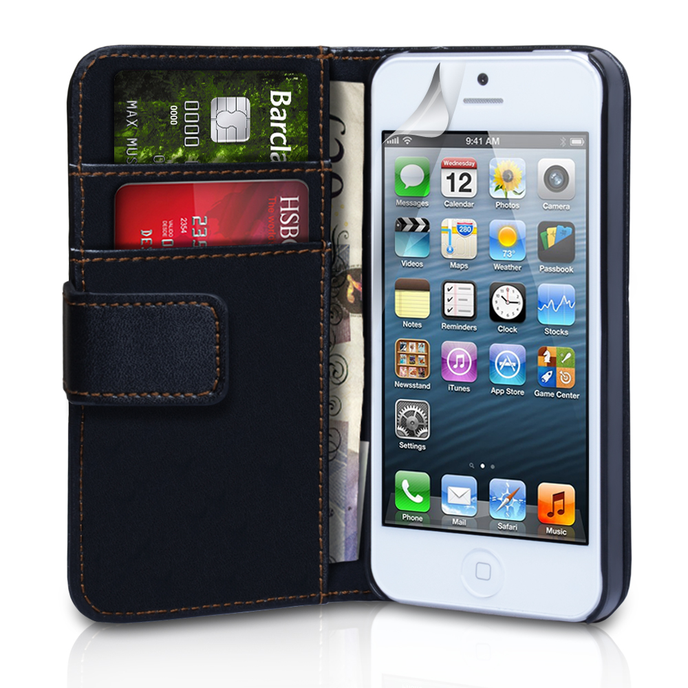 YouSave Accessories iPhone 5C Leather Effect Wallet Case - Black