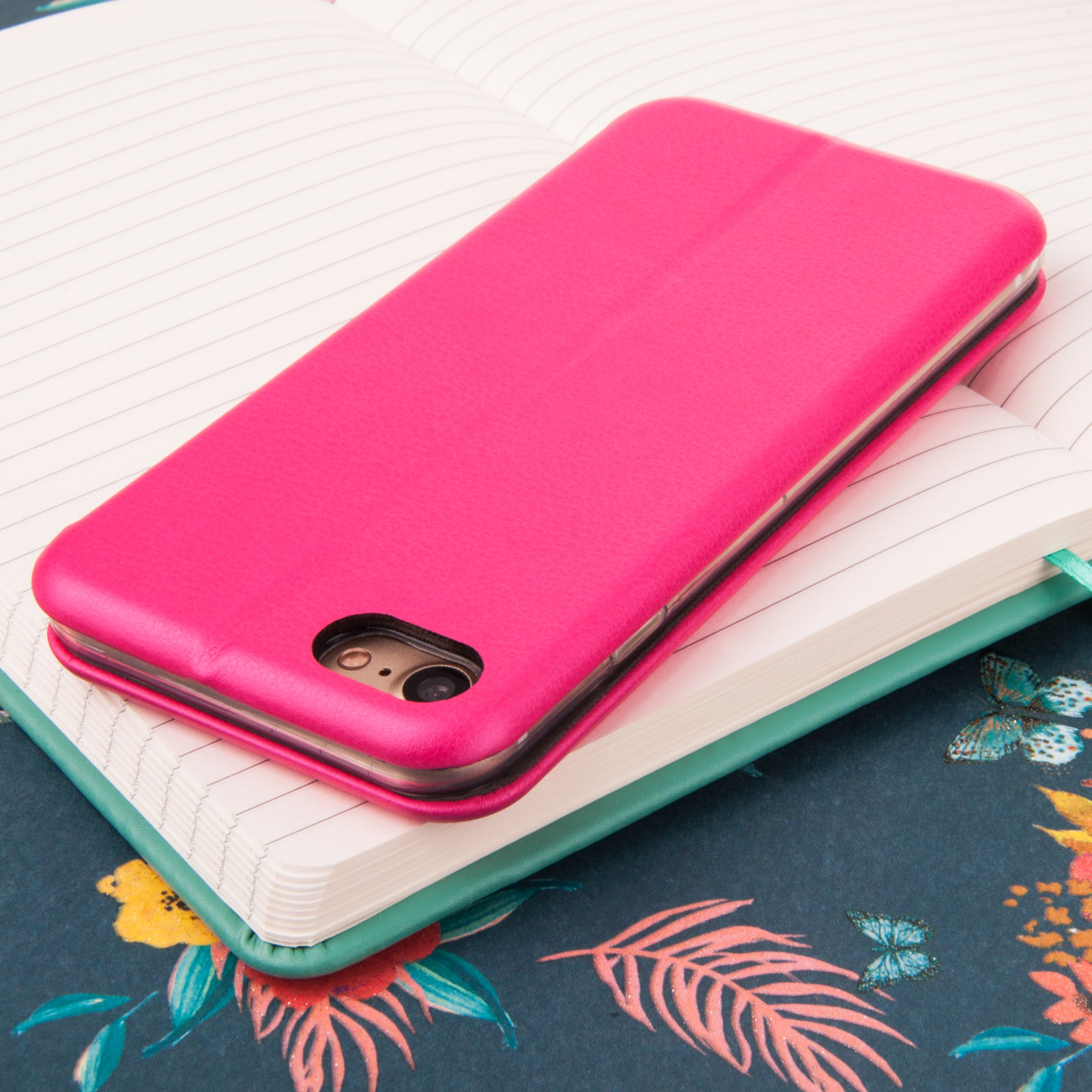 YouSave Accessories iPhone 7 Leather-Effect Stand Wallet Case - Pink