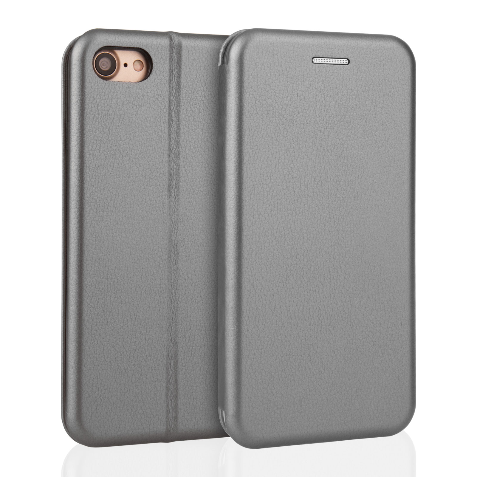 YouSave Accessories iPhone 7 Leather-Effect Stand Wallet Case - Grey