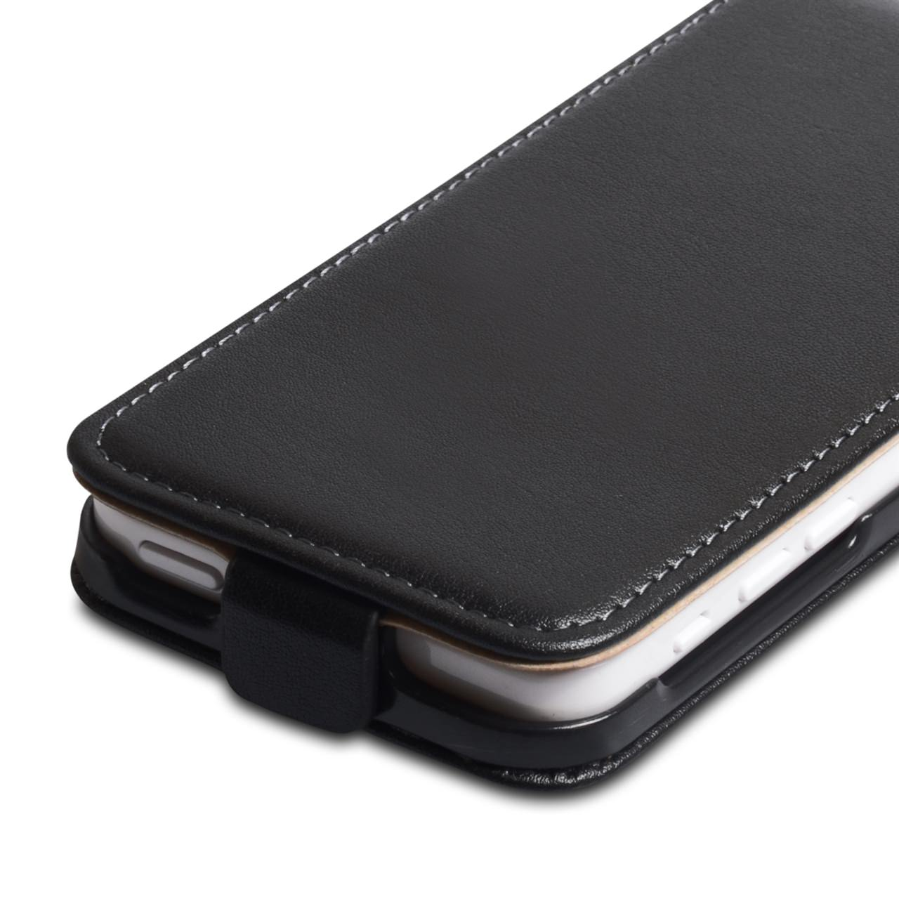 Caseflex iPhone 5C Real Leather Flip Case - Black