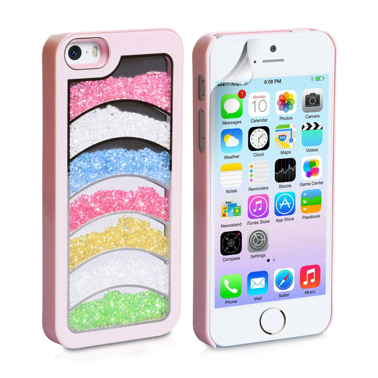 YouSave Accessories iPhone  5 / 5S Rainbow Bling Hard Case - Baby Pink