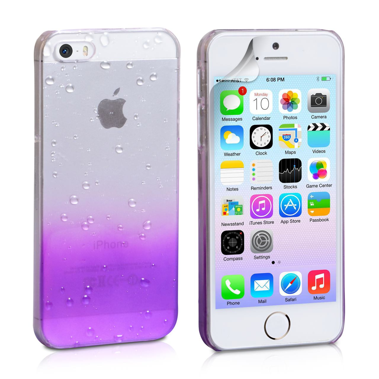 YouSave Accessories iPhone 5 / 5S Raindrop Hard Case - Purple