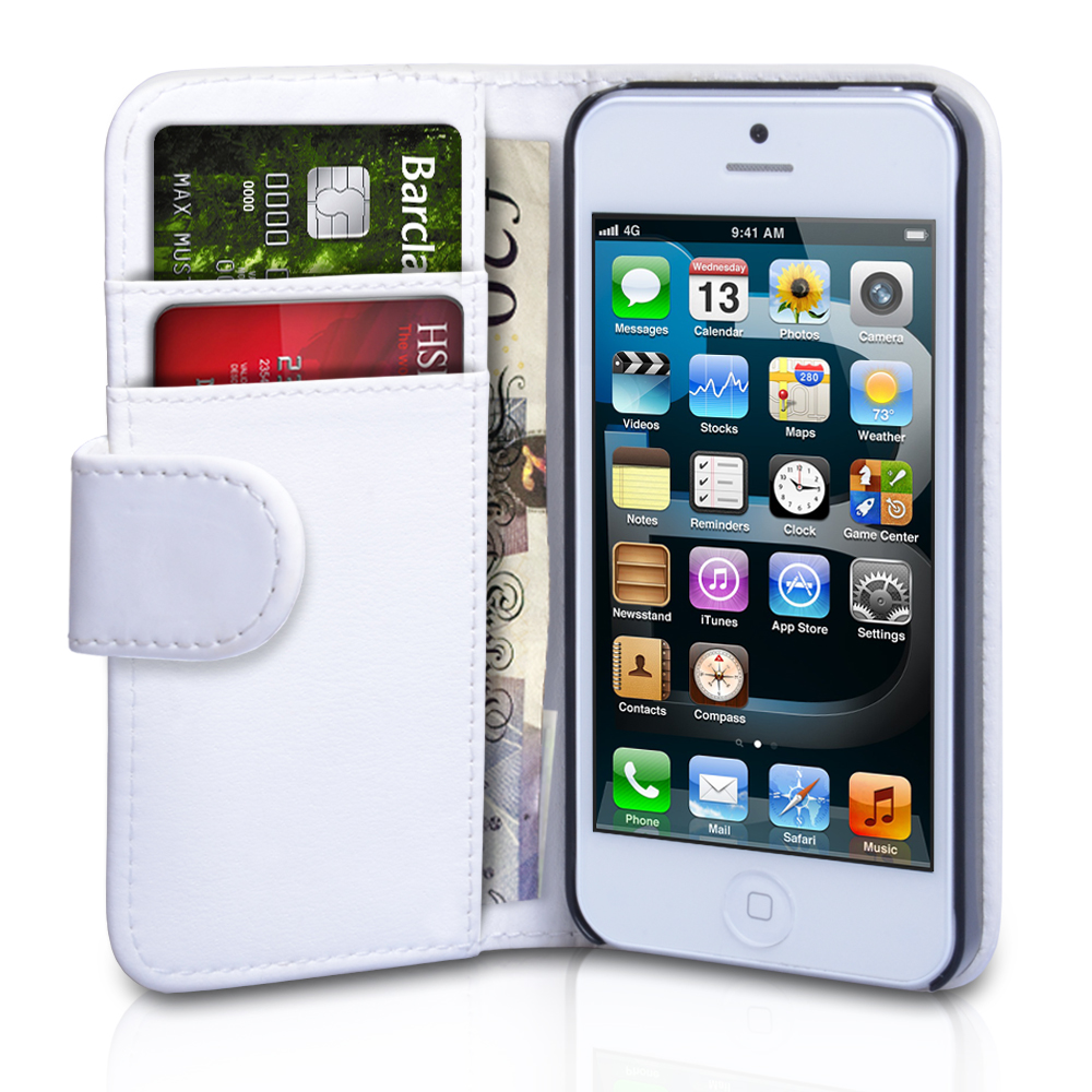 YouSave Accessories iPhone 5 / 5S Leather Effect Wallet Case - White