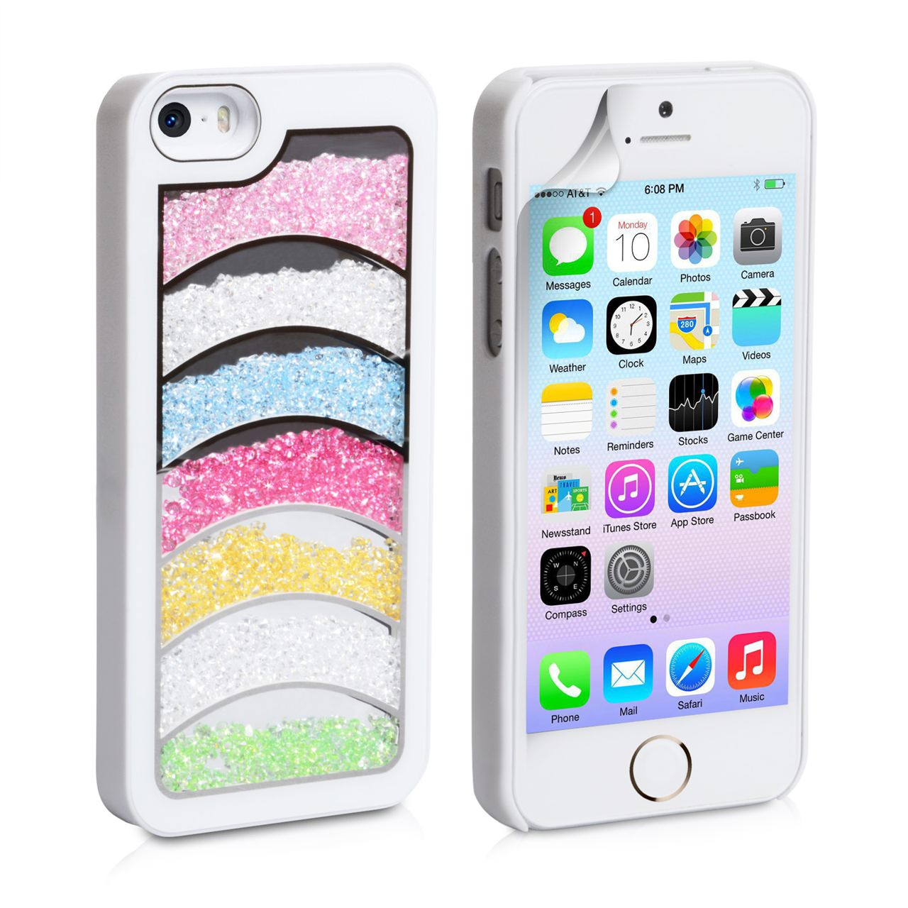 YouSave Accessories iPhone 5 / 5S Rainbow Bling Hard Case - White
