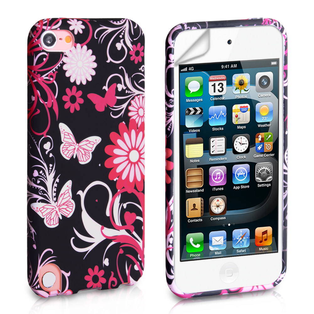 YouSave Accessories iPod Touch 5G Black-Pink Floral Butterfly Gel Case