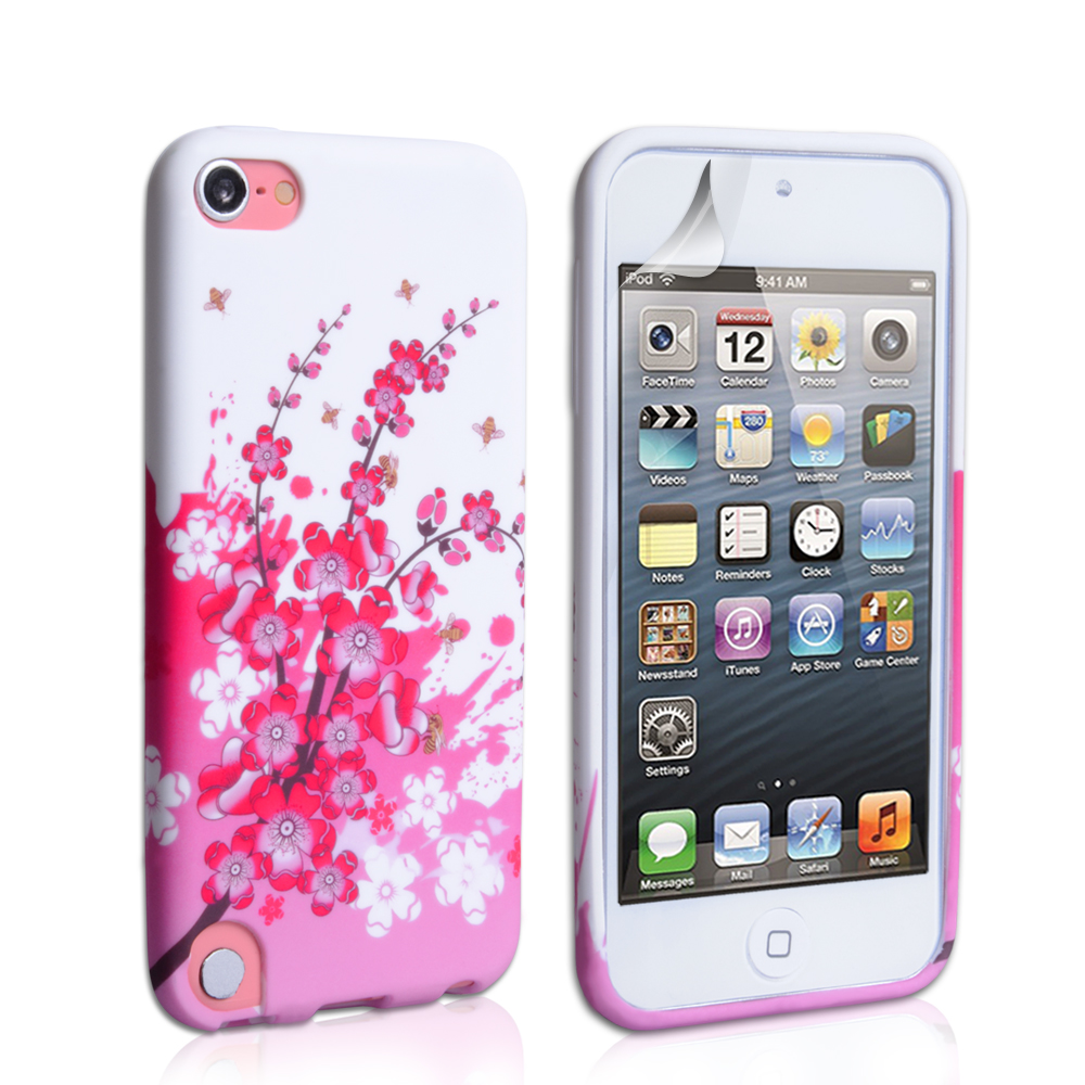 YouSave Accessories iPod Touch 5G Floral Bee Silicone Gel Case