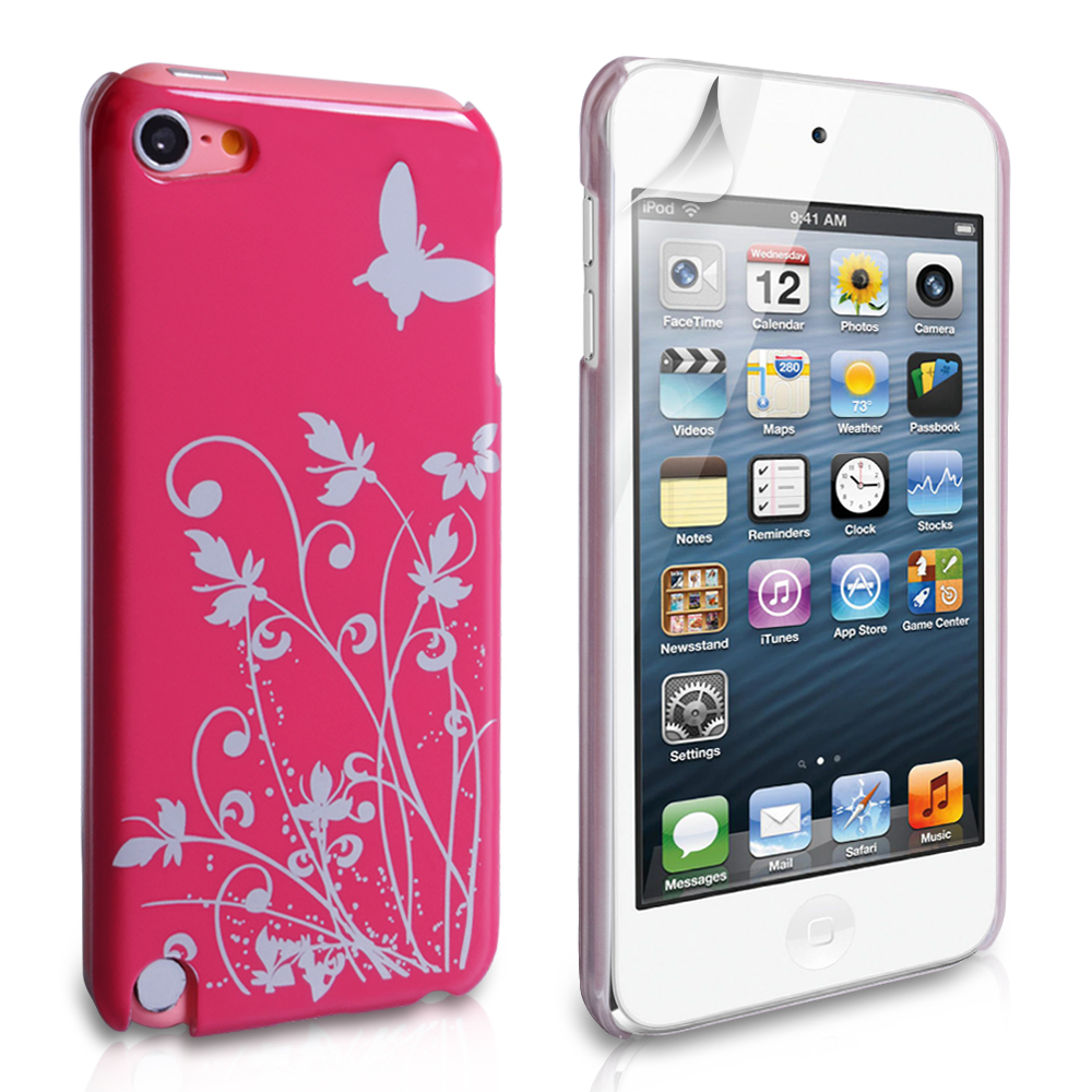 YouSave Accessories iPod Touch 5G Hot Pink Butterfly IMD Hard Case