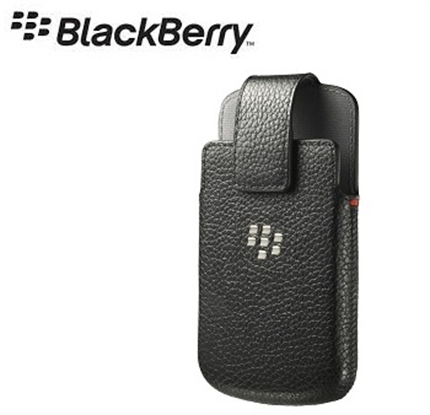 Blackberry Q10 Official Real Leather Swivel Holster Case - Black