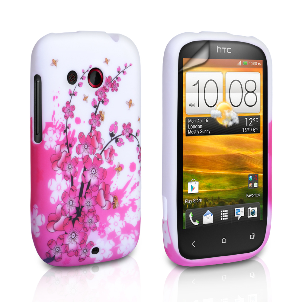 YouSave Accessories HTC Desire C Floral Bee Silicone Gel Case