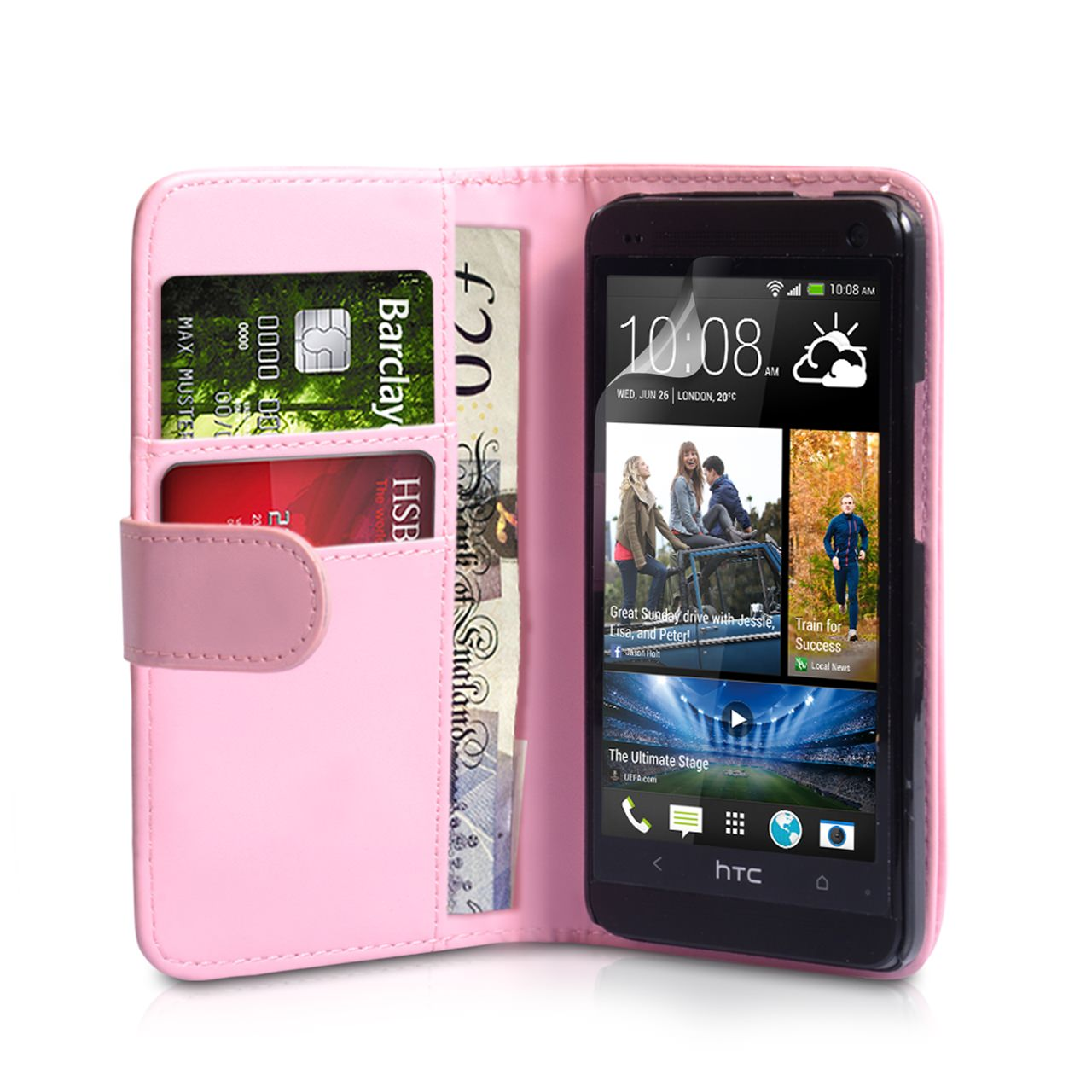 YouSave HTC One Mini Leather Effect Wallet Case - Baby Pink