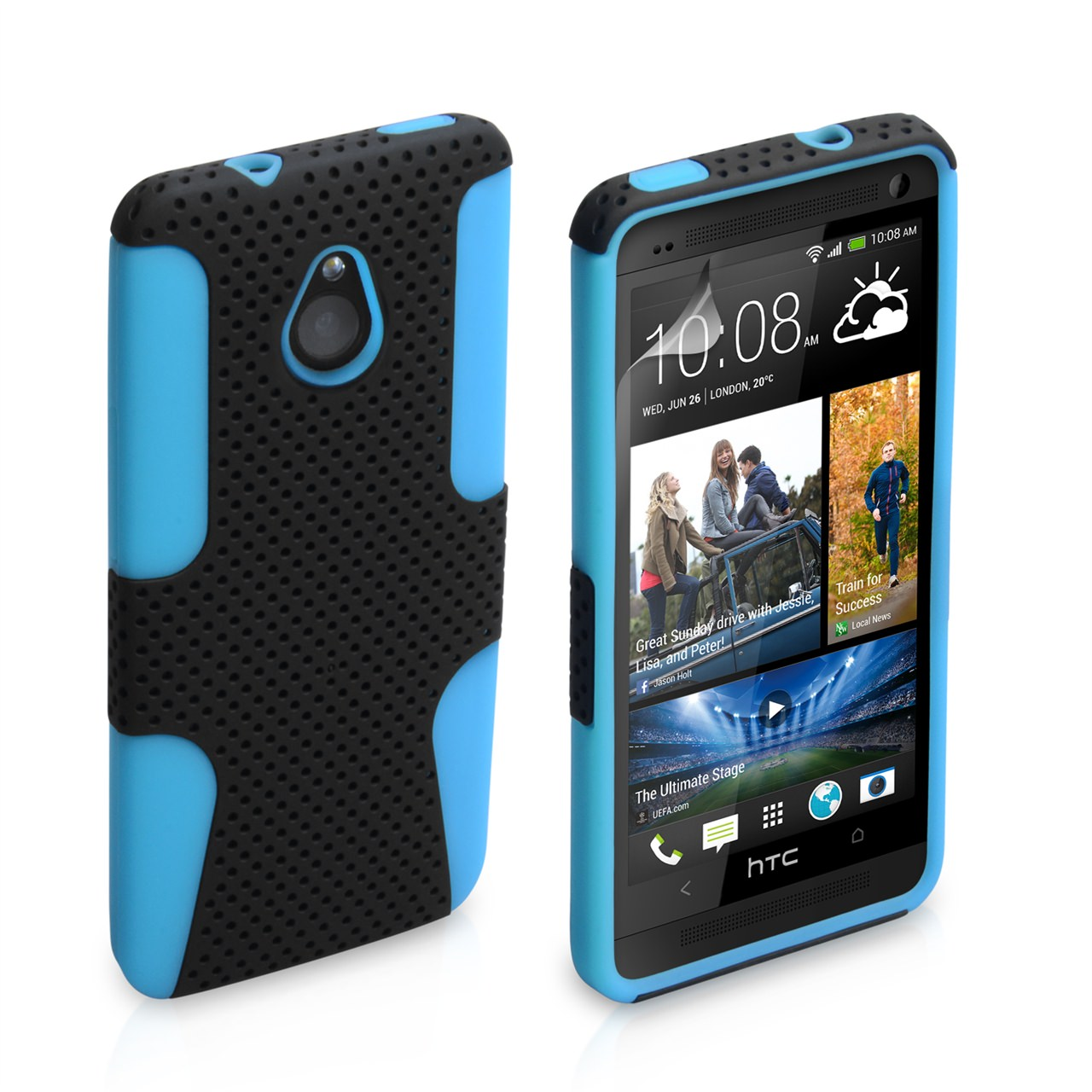 YouSave HTC ONE Mini Tough Mesh Combo Silicone Case - Blue-Black
