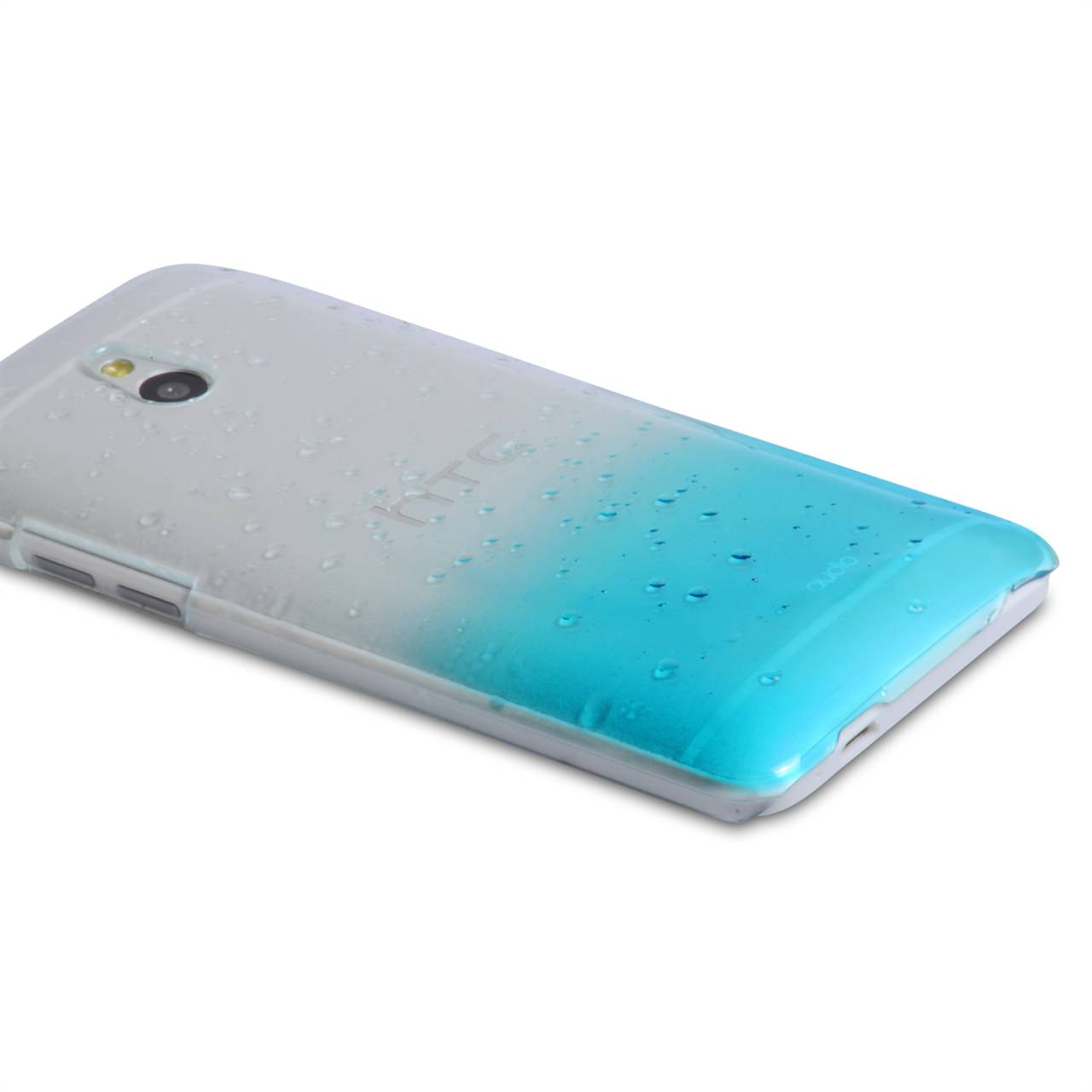 YouSave Accessories HTC ONE Mini Raindrop Hard Case - Blue-Clear