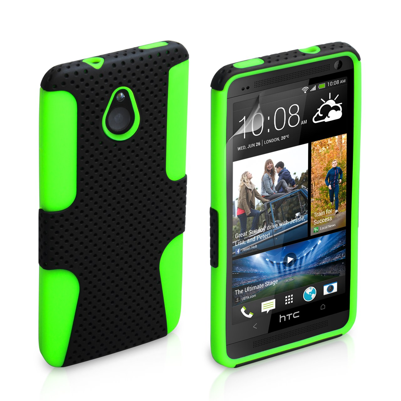 YouSave HTC ONE Mini Tough Mesh Combo Silicone Case - Green-Black