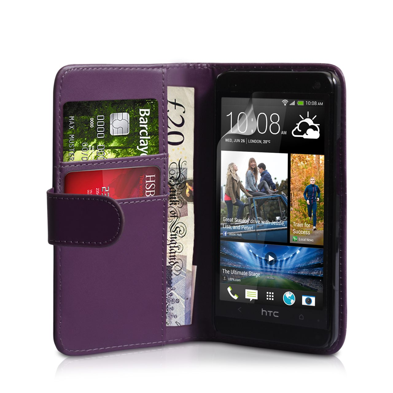 YouSave Accessories HTC ONE Mini Leather-Effect Wallet Case - Purple