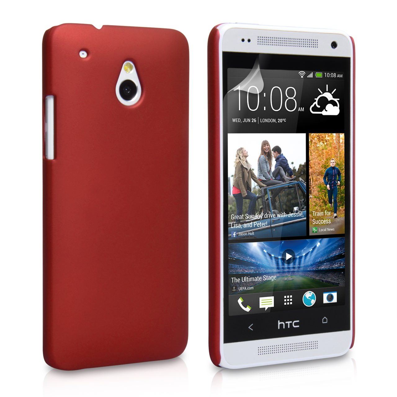 YouSave Accessories HTC ONE Mini Hard Hybrid Case - Red