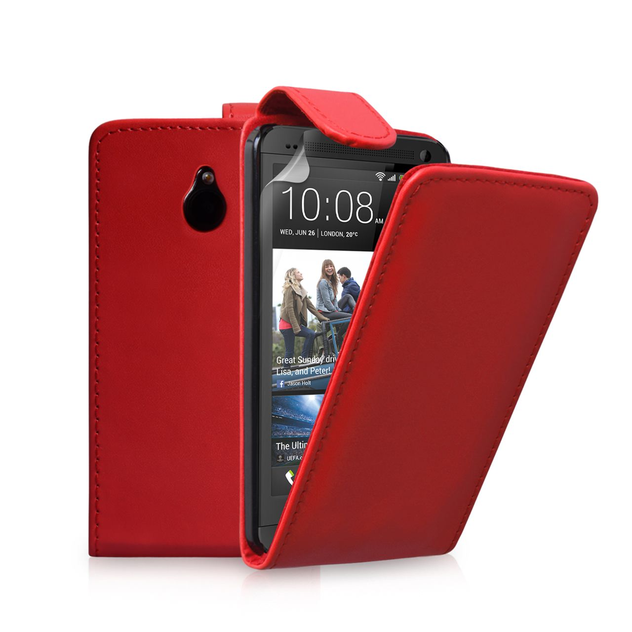 YouSave Accessories HTC ONE Mini Leather-Effect Flip Case - Red