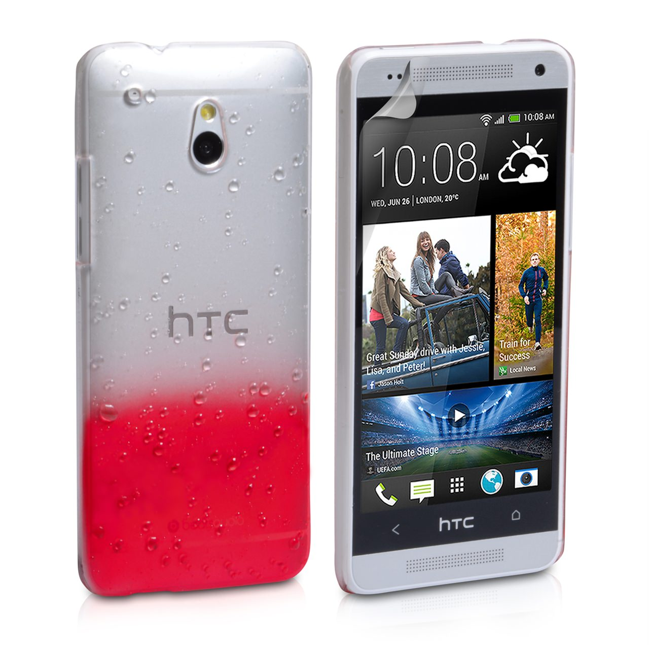 YouSave Accessories HTC ONE Mini Raindrop Hard Case - Red-Clear