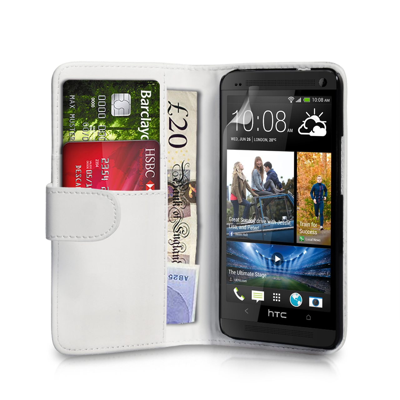 YouSave Accessories HTC ONE Mini Leather-Effect Flip Case - White