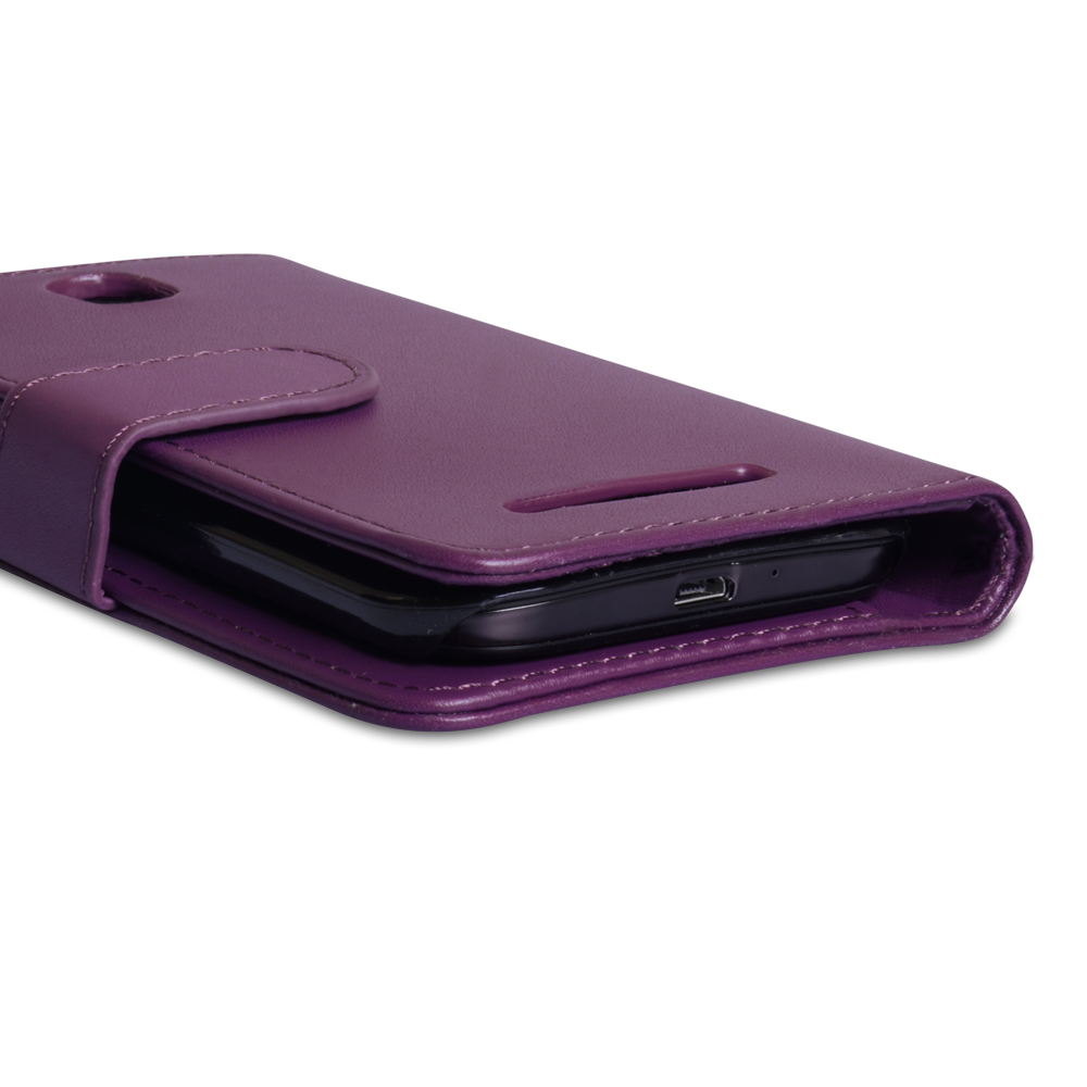YouSave Accessories HTC One SV Leather Effect Wallet Case - Purple