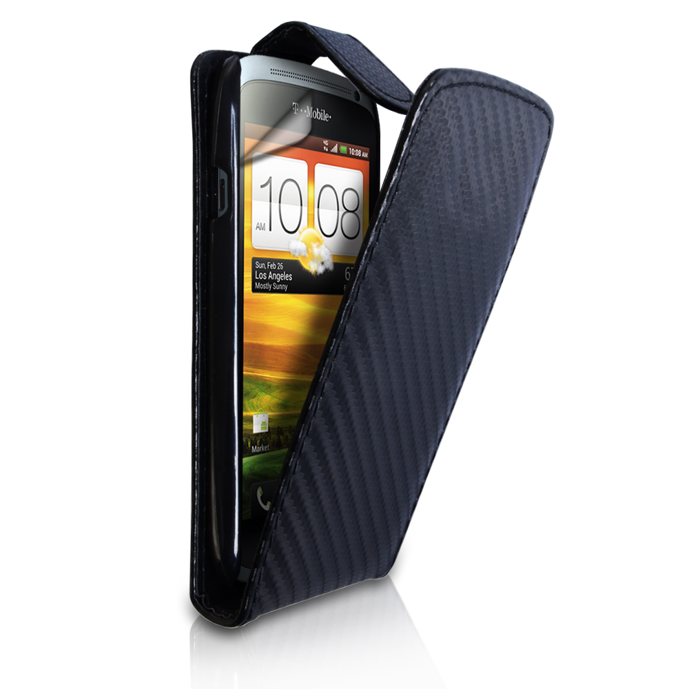 YouSave HTC One S Carbon Fibre Leather Effect Flip Case - Black